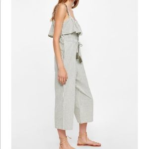 Zara Gray Striped Jumpsuit with Ruffles size XS